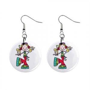 Singing Teen Girl Dangle Earrings Jewelry 1 inch Buttons 12893866