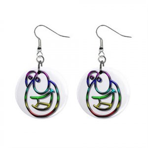Funny Face Dangle Button Earrings Jewelry 1 inch Round 12897929
