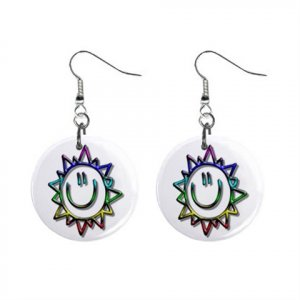Sunshine Funny Face Dangle Button Earrings Jewelry 1 inch Round 12897931