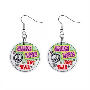 Make Love Not War Peace Sign Hippie Dangle Button Earrings Jewelry 14296902