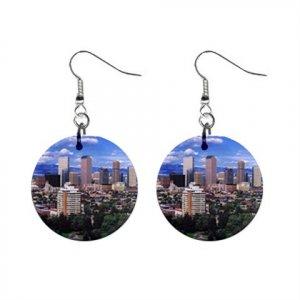 Denver Colorado Daytime Skyline  Dangle Earrings Jewelry 1 inch Buttons 14597681