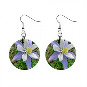 Columbine Colorado State Flower Dangle Earrings Jewelry 1 inch Buttons 14599375