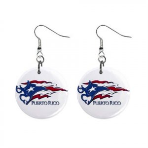 Waving Puerto Rico Flag Dangle Earrings Jewelry 1 inch Buttons 15314323