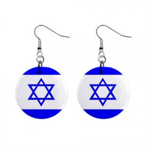Israel  Flag Dangle Button Earrings Jewelry 1 inch Buttons 15365049
