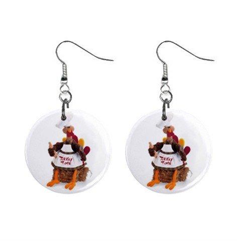 Thanksgiving Turkey Time Dangle Button Earrings Jewelry 17007260