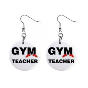 Gym Teacher PE  Dangle Earrings Jewelry 1 inch Buttons 16452579