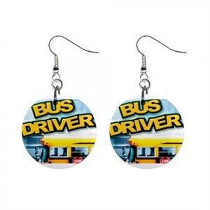 Bus Driver School Bus  Dangle Earrings Jewelry 1 inch Buttons 16452704