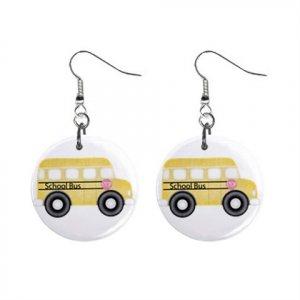 Bus Driver School Bus Dangle Earrings Jewelry 1 inch Buttons 16452709