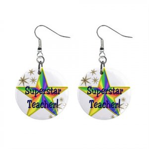 Superstar Teacher Award Dangle Earrings Jewelry 1 inch Buttons 16452714
