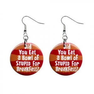 Did You eat a bowl of Stupid ... Dangle Button Earrings Jewelry 1 inch Round 20113119