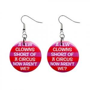 A Few Clowns Short ... Dangle Button Earrings Jewelry 1 inch Round 20113120