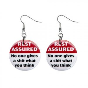 REST ASSURED ...  Dangle Button Earrings Jewelry 1 inch Round 20113383