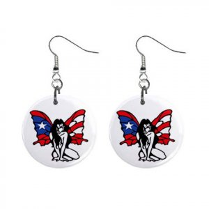 Puerto Rico Butterfly Flag Dangle Earrings Jewelry 1 inch Buttons 15314315