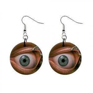 EYE BALL Dangle Button Earrings Jewelry 1 inch Round 13894592
