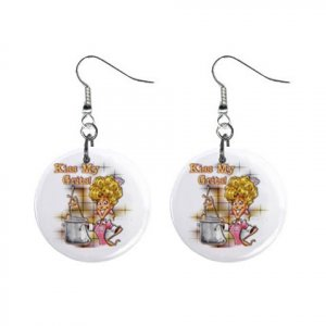 KISS MY GRITS Dangle Button Earrings Jewelry 1 inch Round 13969149