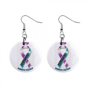 Stop Domestic Violence Awareness Ribbon Dangle Earrings Jewelry 1 inch Buttons 16452812