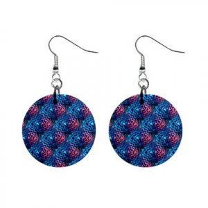 Hypnotic Dizzy Pattern Dangle Button Earrings Jewelry 1 inch Round 13176349