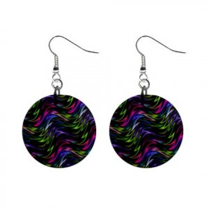 Hypnotic Pattern Dangle Button Earrings Jewelry 1 inch Round 13176478