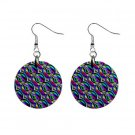 Blue Hypnotic Pattern Dangle Button Earrings Jewelry 1 inch Round 13176479