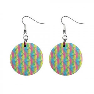 Dragonfly Pattern Dangle Button Earrings Jewelry 1 inch Round 13176480