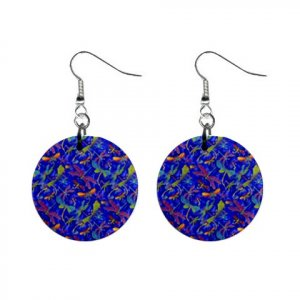 Bright Dragonfly Pattern Dangle Button Earrings Jewelry 1 inch Round 13176522
