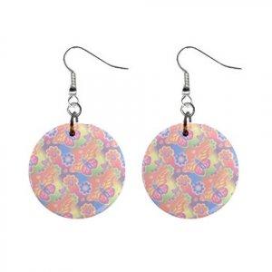 Pastel Butterflies Pattern Dangle Button Earrings Jewelry 1 inch Round 13176525