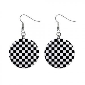 Race Check  Pattern Dangle Button Earrings Jewelry 1 inch Round 13176528