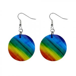 Rainbow Pattern Dangle Button Earrings Jewelry 1 inch Round 13176529