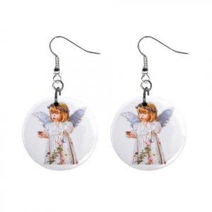 Angel Girl Dangle Button Earrings Jewelry 13004377