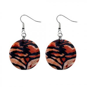 BENGAL TIGER Pattern Dangle Button Earrings Jewelry 1 inch Round 13597024