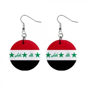 Flag of Iraq Dangle Button Earrings Jewelry 15365048