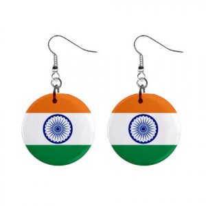 Flag of India Dangle Button Earrings Jewelry 15365046