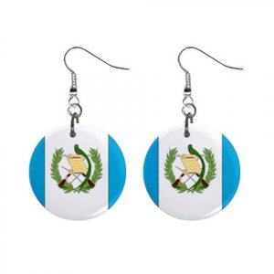 Flag of Guatemala  Dangle Button Earrings Jewelry 15365045