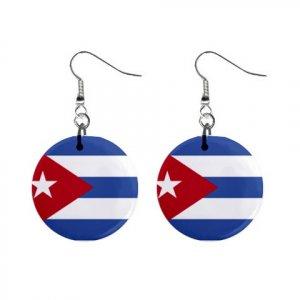 Flag of Cuba  Dangle Button Earrings Jewelry 15365043