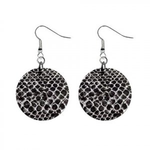 Black Snake Skin Pattern Dangle Button Earrings Jewelry 1 inch Round 13597037