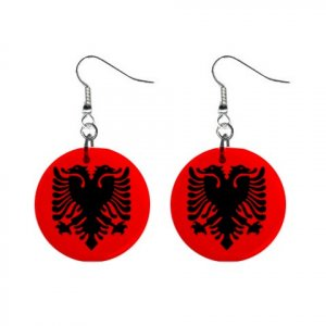 Flag of Albania Dangle Button Earrings Jewelry 15365039