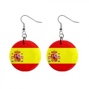 Flag of Spain  Dangle Button Earrings Jewelry 15365037
