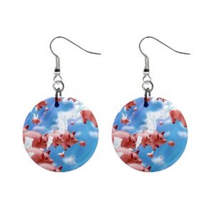 Herd of Flying Pigs Dangle Earrings Jewelry 1 inch Buttons 13894487