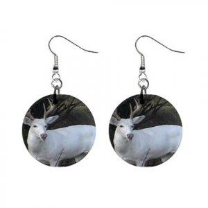 White Deer Piebald  Dangle Button Earrings Jewelry 13894485