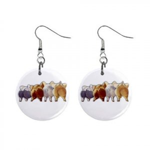 Pig Butts Dangle Earrings Jewelry 1 inch Buttons 13748071
