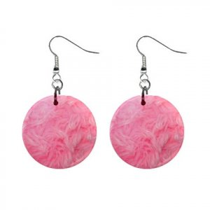 Pink Cotton Candy Shag Pattern Dangle Button Earrings Jewelry 1 inch Round 13597025