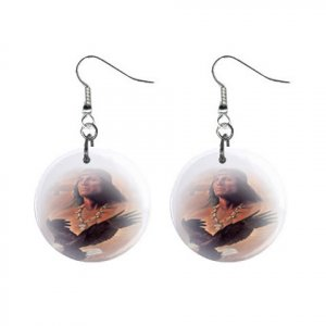 Native American Dangle Button Earrings Jewelry 1 inch Round 20119383