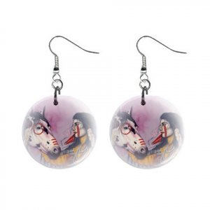 Native American with Horse Dangle Button Earrings Jewelry 1 inch Round 20119384
