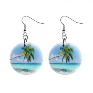 Beach Dangle Button Earrings Jewelry 1 inch Round 20119385