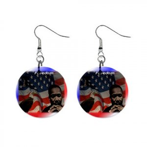 MARTIN LUTHER KING JR. Dangle Button Earrings Jewelry 1 inch Round 20119386