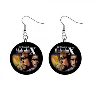 MALCOLM X Dangle Button Earrings Jewelry 1 inch Round 20119388