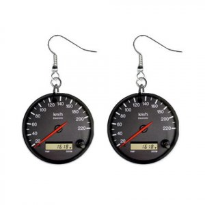 Race Car Speedometer Dangle Button Earrings Jewelry 1 inch Round 20119391