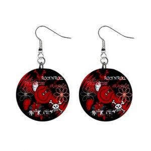 Punk Rock Dangle Button Earrings Jewelry 1 inch Round 20119393