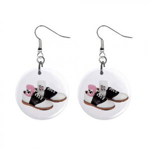 Retro Saddle Shoes Dangle Button Earrings Jewelry 1 inch Round 20119805