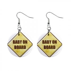 Baby On Board Baby Shower Gift Dangle Button Earrings Jewelry 1 inch Round 20119828